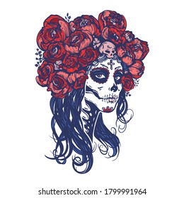 Sugar skull beautiful girl with roses wreath, Halloween makeup. Skeleton woman portrait at Dia de los Muertos, Day of the dead. Hand drawn stock vector illustrtion, sketch for tattoo