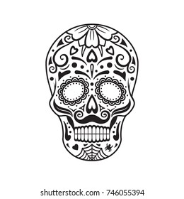Sugar skull. Black tattoo. Silhouette. Mexican Day of the Dead. Vector illustration