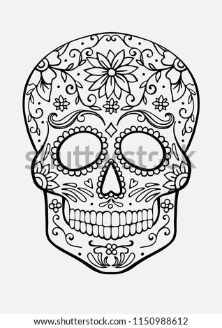 Sugar Skull Coloring Page Stock Vector Royalty Free 1150988612