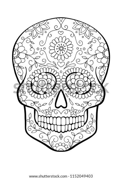 - Sugar Skull Coloring Page Stock Vector (Royalty Free) 1152049403
