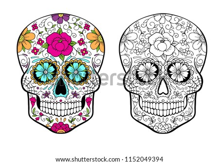 Sugar Skull Coloring Page Color Example Stock Vector Royalty Free