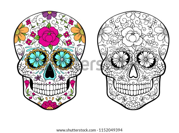 - Sugar Skull Coloring Page Color Example Stock Vector (Royalty Free)  1152049394