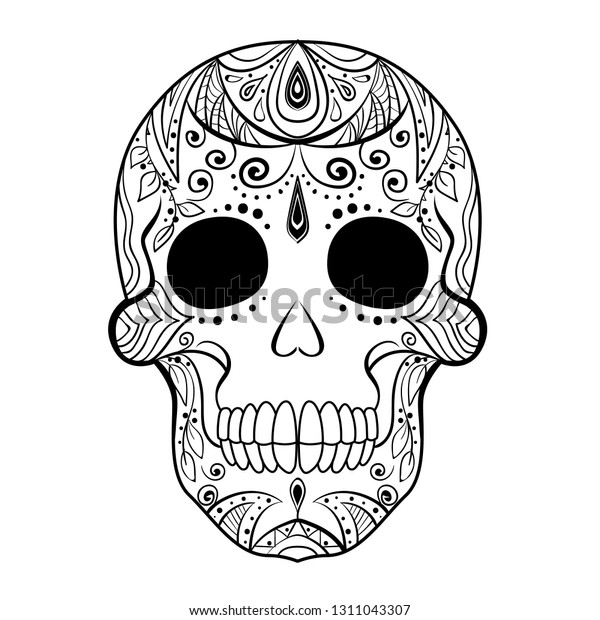 Day Of The Dead Skull Coloring Page