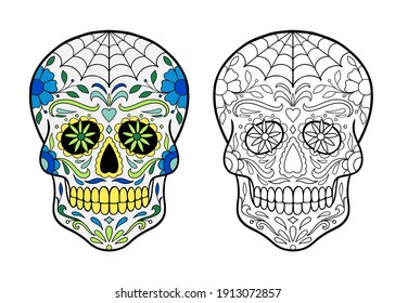 sugar skull coloring page. Mexican Day Of The Dead Celebration