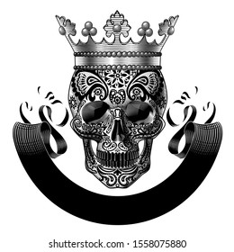 Sugar Skull with a crown and black ribbon banner isolated on white. Vintage engraving stylized drawing. Vector illustration