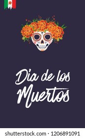 Sugar skull for Day of the Dead Halloween celebration. Traditional Mexican autumn festival. Invitation flyer template with text: dia de los muertos - day of the dead.