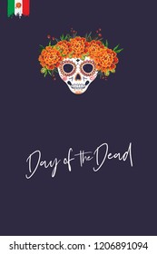 Sugar skull for Day of the Dead Halloween celebration. Traditional Mexican autumn festival. Invitation flyer template with text: day of the dead. Greeting card with black background.