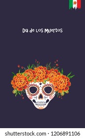 Sugar skull for Day of the Dead Halloween celebration. Traditional Mexican autumn festival. Invitation flyer template with text: dia de los muertos - day of the dead in spanish.