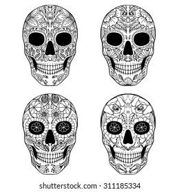 Sugar skull day of the dead set.