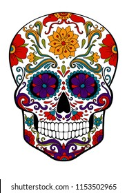 sugar skull, day of death vector illustration