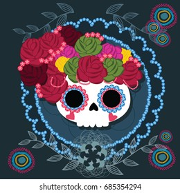 Sugar skull from Day of the Death. Vector illustration