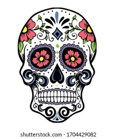 sugar skull dead skull head decoration vector illustration