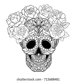 Sugar skull with decorative pattern and a wreath of red roses.
