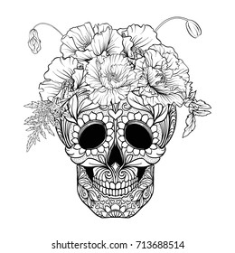 Sugar skull with decorative pattern and a wreath of red poppies.