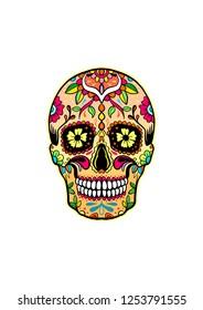 Sugar Skull drawing editable