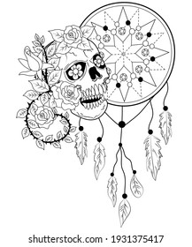 Sugar Skull Dream Catcher flowers vector illustration for adult coloring page