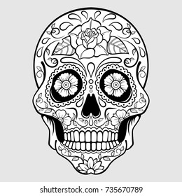 Sugar skull with floral pattern and a rose. Day Of The Dead. Vector illustration.