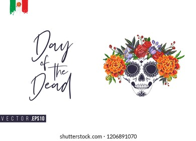 Sugar skull with flowers for Day of the Dead Halloween celebration. Traditional Mexican autumn festival. Invitation flyer template with text: day of the dead. Greeting card with white background.