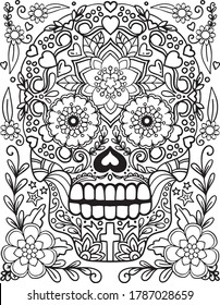 Sugar Skull with flowers frame for Halloween or Day of the dead with flower elements. Hand drawn. Doodles art for greeting cards, invitation or poster. Coloring book for adult and kids.