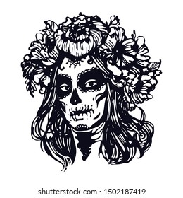 Sugar skull  girl. Santa muerte face. Woman with halloween make up and rose wreath. Black and white Hand drawn stock vector illustration, tattoo sketch isolated on white background.