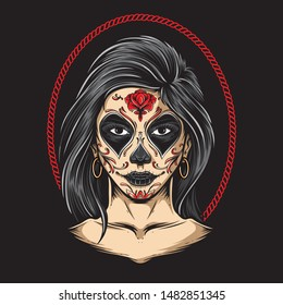 sugar skull girl vector art