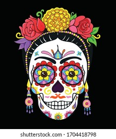 sugar skull girls with flower dead skull declaration vector illustration