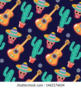 sugar skull guitar and cactus celebration viva mexico background vector illustration