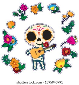 Sugar skull guitarist. Cartoon skeleton character in floral wreath. Poster or post card design on white background. Dia de los muertos.