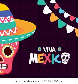 sugar skull hat garland celebration viva mexico vector illustration