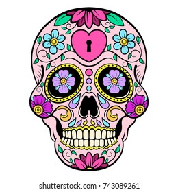 Sugar skull with heart and flower ornament. Day of the dead. Vector illustration.