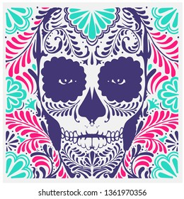 Sugar skull illustration.Day of The Dead colorful woman skull with floral ornament.