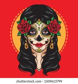 sugar skull la catrina vector logo
