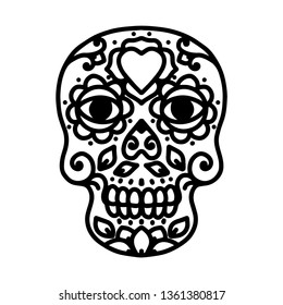 Sugar Skull Line Tattoo