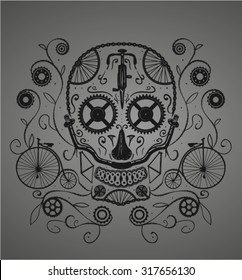 Sugar skull made with bicycles parts. Good for a tattoo or a t-shirt design.