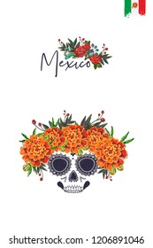 Sugar skull with marigolds for Day of the Dead Halloween celebration. Traditional Mexican autumn festival. Invitation flyer template with text: mexico. Greeting card with white background.
