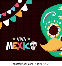 sugar skull mustache decoration celebration viva mexico vector illustration