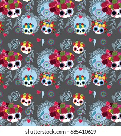 Sugar skull pattern from Day of the Dead. Vector illustration