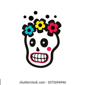 Sugar skull of pretty girl with flowers on the head. Vector illustration.