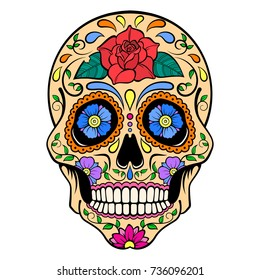 Sugar Skull with red rose ornament. Day Of The Dead. Vector illustration.