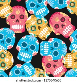Sugar skull seamless background