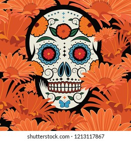 Sugar skull seamless or repeating pattern to celebrate the Mexican holiday Dia De Los Muertos (Day of the Dead), the day after Halloween. EPS10 vector illustration.