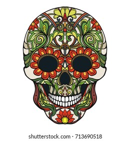 Sugar skull. The traditional symbol of the Day of the Dead.