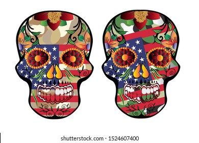 sugar skull trending with a beautiful white background,skull american flag for t-shirt screen printing