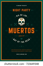 Sugar Skull Vector illustration on Textured Background. Day Of The Dead Celebration Night Party Poster With Traditional Mexican Skull. Dia De Los Muertos.