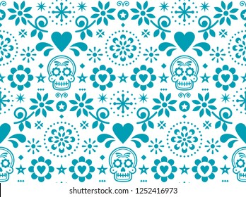 Sugar skull vector seamless pattern inspired by Mexican folk art, Dia de Los Muertos repetitive design in turquoise on white background.    Calavera and flowers decoration - Mexico