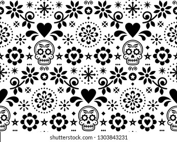 Sugar skull vector seamless pattern inspired by Mexican folk art, Dia de Los Muertos repetitive design black and white    Calavera and flowers decoration inspired by decor form Mexico, floral ornament