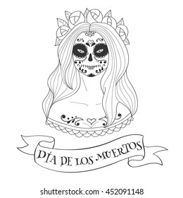 Sugar Skull Woman Day Dead Template Stock Vector 452091142 ...
