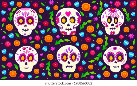 Sugar skulls with colourful flowers on dark background, banner for mexical holiday dia de los muertos