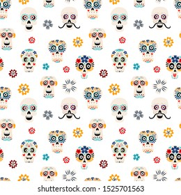 Sugar skulls flat vector seamless pattern. Skeleton heads with flowers on white background. Day of Dead festival texture. Dia de los muertos mexican holiday wrapping paper, textile, fabric design