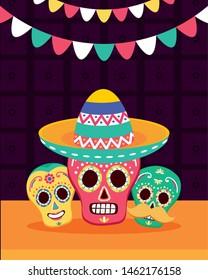 sugar skulls hat decoration celebration viva mexico vector illustration